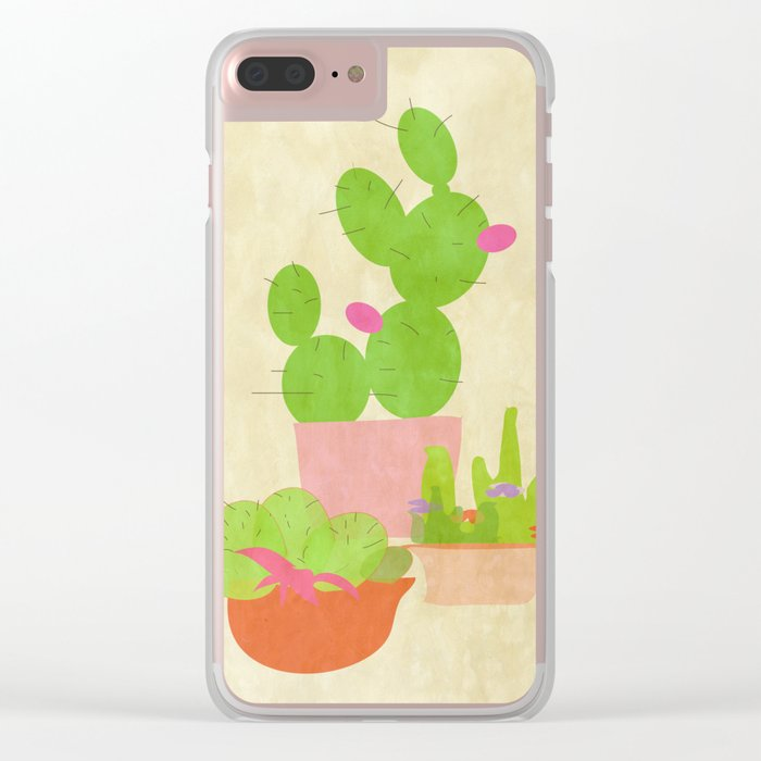 Cacti Mix Clear iPhone Case