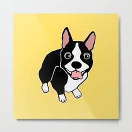 Happy Boston Terrier Metal Print
