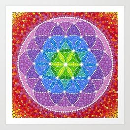 Rainbow Flower of Life Art Print