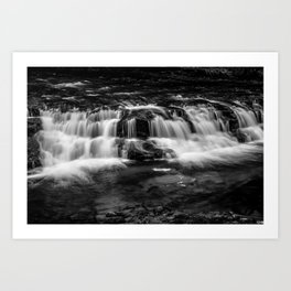 Welsh Waterfall in black and white Art Print