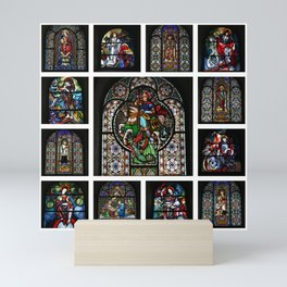 Stained Glass Windows Collage Mini Art Print