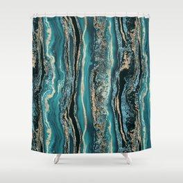 Turquoise Gold Sparkling Luxury Marble Gemstone Art Shower Curtain
