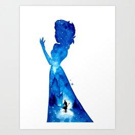 Princess Elsa Double Exposure - Darker Version Art Print