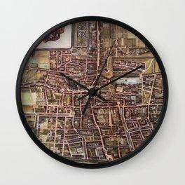 Replica city map of The Hague 1649 Wall Clock
