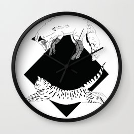 Beastly jump - Ink artwork Wall Clock