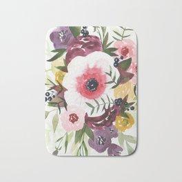 Burgundy Blush Watercolor Floral Bath Mat