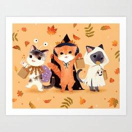 Halloween Cats Art Print