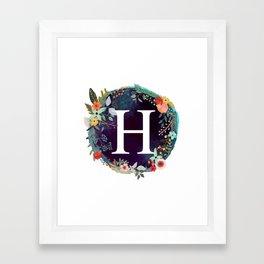 Personalized Monogram Initial Letter H Floral Wreath Artwork Framed Art Print
