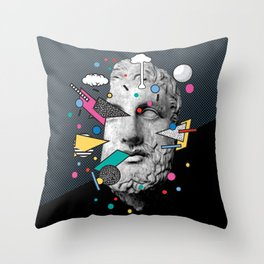 """Thoughtless"" Inner Thoughts Statue Memphis Collage 1 Throw Pillow"