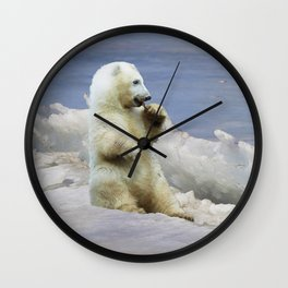 Cute Polar Bear Cub & Arctic Ice Wall Clock