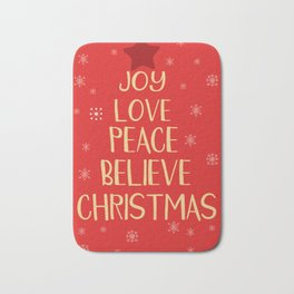 Conceptual christmas tree from words Bath Mat