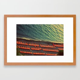 Colorful Beach Umbrellas in Amalfi, Italy Framed Art Print
