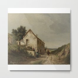 Camille Pissarro 1830 - 1903 HOUSE AT THE EDGE OF A COUNTRY ROAD WITH CHARACTERS Metal Print