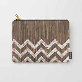 Vintage Preppy Floral Chevron Pattern Brown Wood Carry-All Pouch