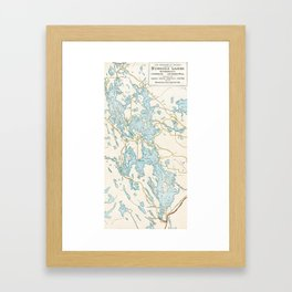 Vintage Muskoka Lakes Map Framed Art Print