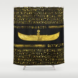 Golden Egyptian God Ornament on black leather Shower Curtain