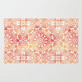 Oriental Watercolor ornament pattern yellow orange Rug