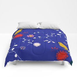 Bird and blossom electric blue Comforters