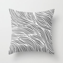 Gray Wave Lines Throw Pillow