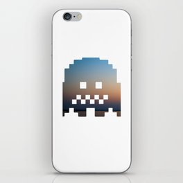 Pacman robot with clouds iPhone Skin