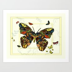 Colorful Butterfly Collage Art Print