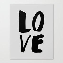 Monochrome LOVE black-white hand lettered ink typography poster design home decor wall art Canvas Print