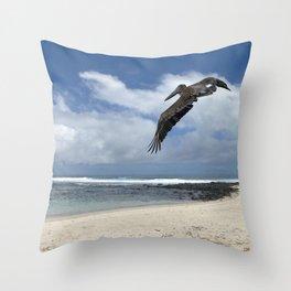Pelican above the beach Throw Pillow
