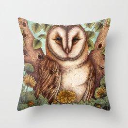 Spring Barn Owl Throw Pillow