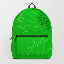 Spirographs blue on a green background. Backpack