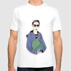 Bag Lady Blue MEDIUM White Mens Fitted Tee