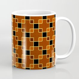 Gold Foil Boxes in Copper Overlapping on Black Coffee Mug