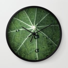 Leaf with raindrops Wall Clock