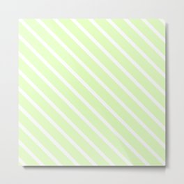 Cool Cucumber Diagonal Stripes Metal Print