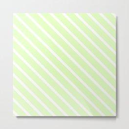 Cool Cucumber Diagonal Stripes Metal Print