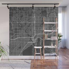 Tampa Map, USA - Gray Wall Mural