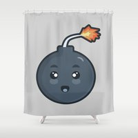 kawaii Shower Curtains featuring Kawaii Bomb by Nir P