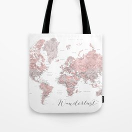 Wanderlust - Dusty pink and grey watercolor world map, detailed Tote Bag