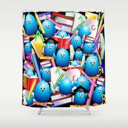 Back to School Cute Blue Birds Shower Curtain