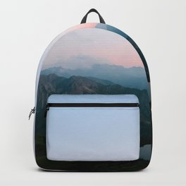 Calm Mountain Lake Sunset and Moon Reflection Backpack