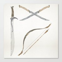 middle earth Canvas Prints featuring Middle Earth Weapons pack by Kazuma Shimizu