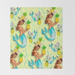 Tropical Pineapple Mermaid with Merkitties Throw Blanket