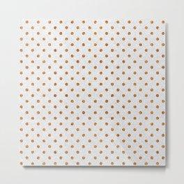 Elegant white modern faux gold glitter polka dots Metal Print