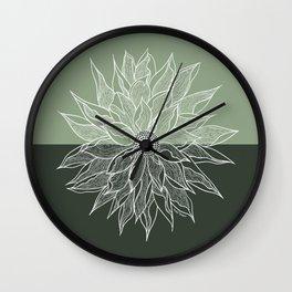 Green Dahlia Line Art Wall Clock