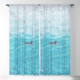 Orca Whale gliding through the water on a rainy day Sheer Curtain