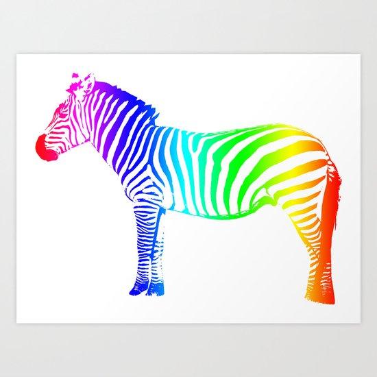 Coloured Zebra Art Print