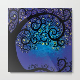 Blue and Purple Tree Of Life Swirls Metal Print
