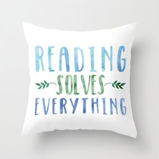 Reading Solves Everything (Green/Blue) Throw Pillow