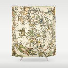 """Albrecht Dürer """"Celestial map of the Northern sky"""" Shower Curtain"""