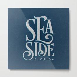 Seaside Typography (Blue) Metal Print