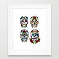 sugar skulls Framed Art Prints featuring Sugar skulls by very giorgious